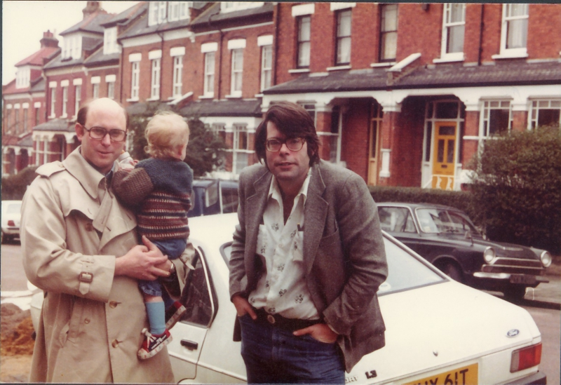 Peter Straub, Benjamin Straub and Stephen King, London, 1977, by Susan Straub
